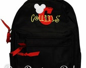 Mickey Backpack, Mickey Mouse Backpack, Mickey Initial Backpack, Custom Mickey Mouse Backpack, Monogrammed Mickey Mouse Backpack