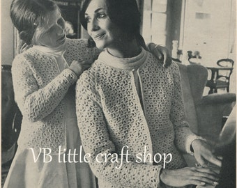 Mothers and daughters jackets crochet pattern. Instant PDF download!