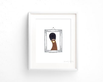 Ferret in a Bearskin (100 Animals in Hats Series) - Giclee print of original collage illustration - 8 x 10in