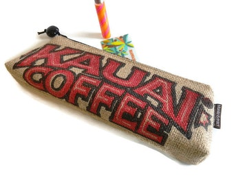 MTO. Custom. Kauai Coffee Burlap Zipper Clutch Purse. Repurposed Kauai Coffee Company Bag. Handmade in Hawaii.