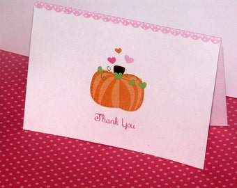 Pumpkin thank you notes with cute hearts and polka dots  PRINTED cards - come with envelopes