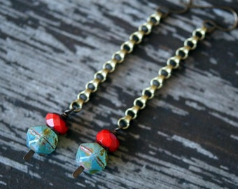 Long Chain Earrings - Turquoise and Red - Shoulder Duster Earrings - Red and Turquoise Boho Earrings - Bead Soup Jewelry