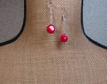 Natural AAA Grade Red Coral,925 Silver Earrings