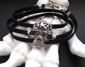 Lucky 13 Silver Skull Bracelet, Black Leather Wrap Bracelet, Sugar Skull Bracelet