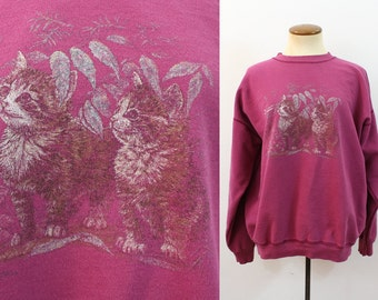 KITTENS Sweatshirt Cats 80s Shirt Pullover Animal Print 1980s Vintage Hipster Grunge Slouchy Geek Chic Burgundy Indie Worn In Slouch Large L
