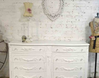 Painted Cottage Chic Shabby French Dresser DR876