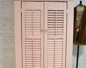 Painted Cottage Chic Shabby Pink Handmade Farmhouse Shutter Cabinet
