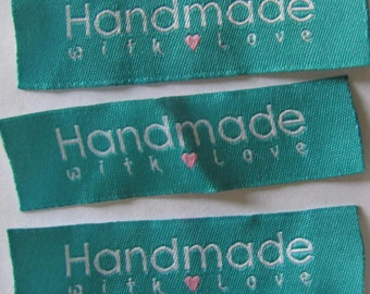 10 Handmade with love woven label tag clothes  fabric crafts craft scrapbooking scrapbook papercrafts sew on heart labels Valentines