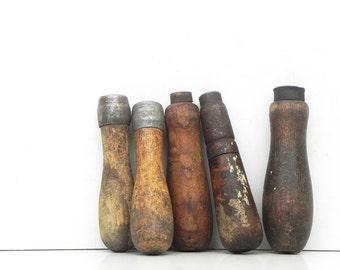 5 salvaged vintage wooden hand tool handles industrial Altere Art Steampunk Supply