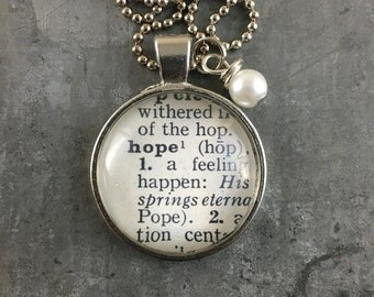 Dictionary Word Necklace - Hope