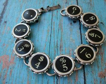 Typewriter Key Bracelet - Antique Typewriter Jewelry -  B786