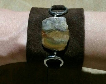 Petrified Wood and Suede Cuff Bracelet