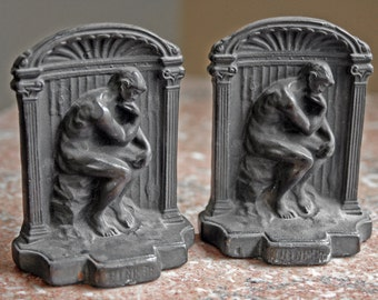Price Reduced - Pair of Vintage Cast Iron Bookends - The THINKER - heavy duty, felt bottom - use for books, door stop, decor