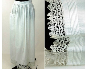 Edwardian apron with crocheted lace and pintuck pleats cotton antique apron