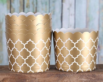 Gold Baking Cups, Large Cupcake Cups, Gold Candy Cups, Gold Wedding Favor Cups, Large Baking Cups, Gold Treat Cups (24)