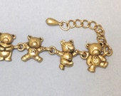 Vintage Teddy Bear Adjustable Goldtone Bracelet / Gold Tone Metal Cute Tiny Bears Charms, Lobster Claw Clasp Extender Chain Tear Drop End