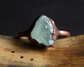 RESERVED Aquamarine Raw Crystal Stone Ring Midwest Alchemy Size 10 Natural Jewelry Copper Aquamarine Ring Size 6 Ring March Birthstone