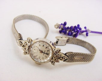 BG15 Vintage Benrus 21 Jewels Ladies Watch Solid 14K White Gold Face Bezel with 10 Diamonds Duchess Gold Fill Band
