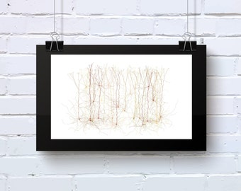 Neuro Science inspired Art Abstract office wall art brown and olive geeky Giclee on cotton rag paper Limited Edition Neuro_9p