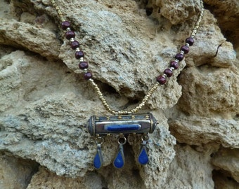 Kuchi Tribal Prayer Box Necklace.  Choice of three colours. Hand made. Silver Gilt.
