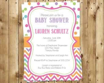 Baby Shower Invitations, Girls, Aqua, Pink, Green, Polka Dots, Chevron, Stripes, 10 Printed Invites, FREE Shipping, Customized, Rainbow