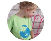 World Cotton Crewneck Youth Tshirt, Short Sleeved, Hand Printed, Screenprinted Graphic Tee, Earth Day, World Travel, Bright Lime Green