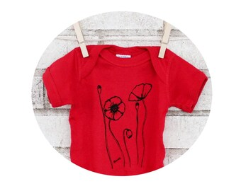 Poppies, Baby Onepiece, Poppy field short sleeved baby bodysuit, Red Valentiene,  baby shower gift, Hand Printed, Flower garden