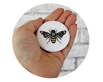 Pinback Button with Honey Bee, Lace Wings, Bumble Bee, Garden Insect, Party Favor, Summer Flair, Pin Back Badge, Yellow White and Black