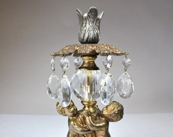 Vintage Crystal Drop Candleholder Metal Cherubs Marble Base Cottage Chic meets Hollywood Regency Italianate Decor
