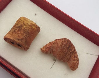 Pair of polymer clay croissant and pain au chocolat silver plated cufflinks