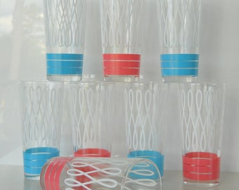 Vintage Blue and Pink Stripe with White Swirl Set of Eight Glass Tumblers