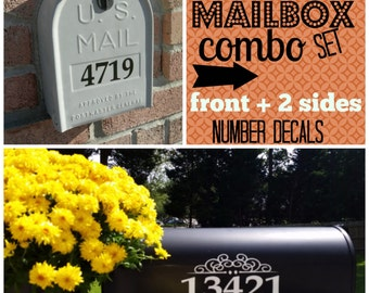 Mailbox Numbers Decal COMBO front plus 2 sides FREE Shipping
