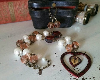 Shabby Chic Keeper Of The Heart Vintage Inspired Necklace & Earring Set