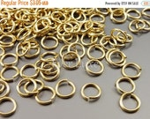15% SALE 10 grams Jump rings jumprings for necklace making, bracelets, earrings, jewelry making supplies B005BBG-206 (bright gold, brass, 6m