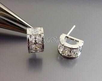 2 half rondelle CZ studded earrings, half moon shape Cubic Zirconia earrings 2065-BR