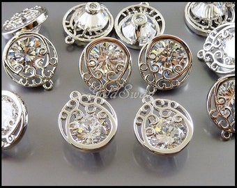 2 round Cubic Zironia in rhodium silver round filigree patterned frame setting, 8mm CZ pendants 2051-BR