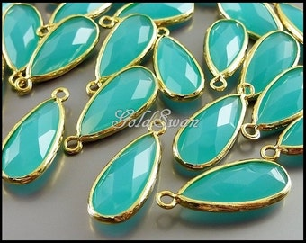 2 blue-green mint turquoise color faceted long teardrop glass stones, glass pendants 5131G-MT