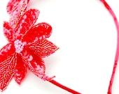 Lolita | Red beaded fascinator headband