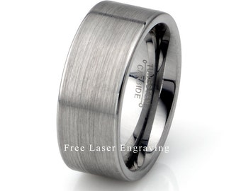 Mens Wedding Band, Mens Tungsten Ring, Tungsten Carbide Wedding Band, Brushed Tungsten Ring, Mens Brushed Ring, Anniversary Ring, 9mm Ring