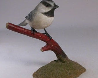 Mountain Chickadee Hand Carved and Hand Painted Wooden Bird