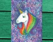 Rainbow Unicorn 4x6 Postcard