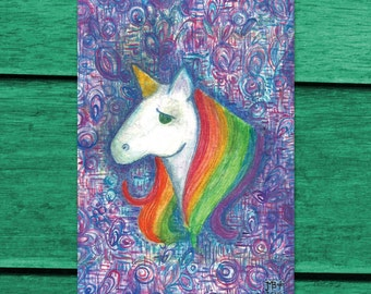 Rainbow Unicorn 4x6 Postcard