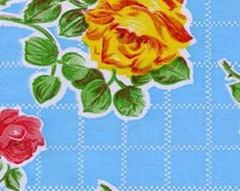 Aqua Rose Oilcloth Fabric 12 yard Roll