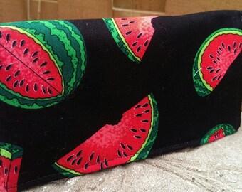 Handmade Fabric Checkbook Cover -   watermelon