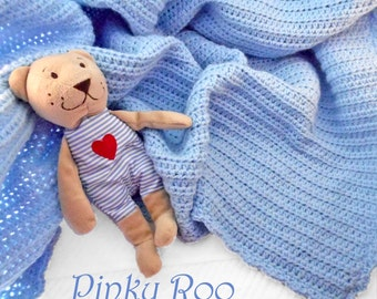 Crocheted Baby Blanket in solid baby blue /Pantone of 2016 baby blanket / baby boy blanket