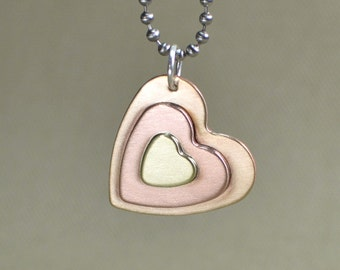 Three Hearts in Copper Bronze and Sterling Charm Necklace - NL791