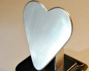 Guitar Pick Heart Handmade from Sterling Silver Customize Me - solid 925 GP281