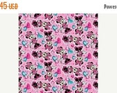 DISNEY's Minnie Mouse Pink w Blue Hearts Fabric --HARD Find