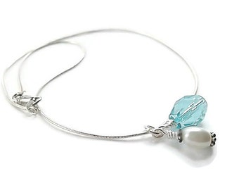 Wedding/Bridal Necklace/Pearl/Crystal/Sterling Silver/Aquamarine Necklace