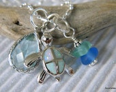 Sterling Silver Fire Opal Turtle Pendant with Crystal and Sea Glass